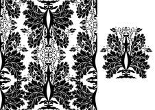 Seamless black damask pattern. Beautiful traditional seamless black on white damask design for background, silk, wrap, textile, weddings, engagements, fabric Stock Photography