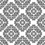 Seamless black damask Pattern on the white Background. Stock Photo