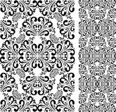 Seamless black damask Pattern on white. Royalty Free Stock Photography