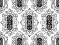 Seamless black fancy floral wallpaper stock illustration