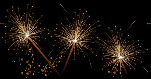 Seamless black festive pattern with sparklers. Royalty Free Stock Photos