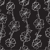 Seamless  black  floral  background Stock Photos