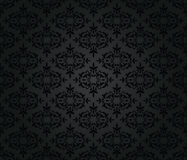 Seamless black floral damask wallpaper pattern Stock Image