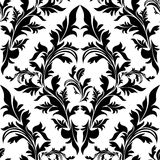 Seamless black floral Ornament on white Royalty Free Stock Photography