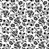 Seamless black floral pattern on white. Vector ill Stock Photo