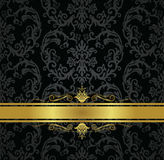 Seamless black floral wallpaper and gold ribbon Royalty Free Stock Images