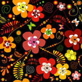 Seamless black flower pattern. Motley seamless black flower pattern Stock Photos