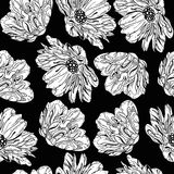 Seamless black flowers Royalty Free Stock Image