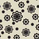 Seamless with black flowers Royalty Free Stock Image