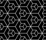 Seamless black geometric pattern. 3D illusion. Seamless black geometric hexagons pattern. 3D illusion. Vector art vector illustration