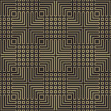 Seamless black and gold art deco geometric outline pattern vector Stock Image