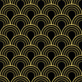 Seamless black and gold art deco twenties vintage pattern vector Stock Photos