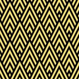 Seamless black and gold rhombic chevrons art deco pattern vector Stock Images