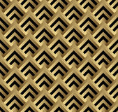 Seamless black and gold square art deco pattern.  Royalty Free Stock Photo