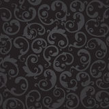 Seamless black and grey swirls floral wallpaper Stock Photos