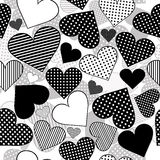 Seamless with black hearts on white background Stock Photography
