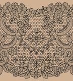 Seamless black lace. Horizontally seamless black lace background with floral pattern Stock Photography