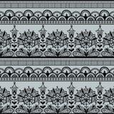 Seamless Black Lace Pattern. Seamless black lace pattern on a gray background Stock Photo