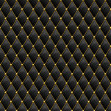 Seamless black leather texture with gold metal details. Vector leather background with golden buttons Royalty Free Stock Photos