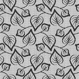 Seamless black leaves lace pattern Royalty Free Stock Photos