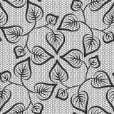 Seamless black leaves lace pattern Stock Images