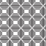 Seamless black line square abstract pattern with white background. Vector, copy space for text, black and white theme Stock Photography