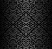 Seamless black ornamental Wallpaper with Swirls Royalty Free Stock Image