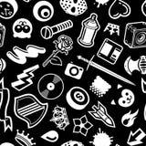 Seamless Black Pattern. With White Symbols Stock Photos