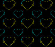 Seamless black pattern with hearts. Stock Photo