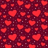 Seamless black pattern with hearts stock illustration