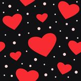 Seamless black pattern with hearts vector illustration