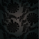 Seamless black patternwith flowers. Stock Photography