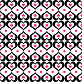 Seamless black and pink hearts pattern Royalty Free Stock Photos