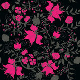 Seamless black rose. Decorative seamless black background with pink flowers Stock Image