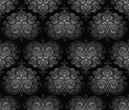Seamless black royal damask wallpaper Royalty Free Stock Photo