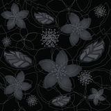 Seamless black and silver floral wallpaper Stock Images