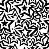 Seamless black star pattern. Retro black and white seamless pentagram background Stock Photos