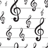 Seamless black treble clef Stock Photography
