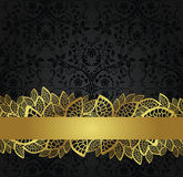 Seamless black wallpaper and golden lace banner Stock Photo