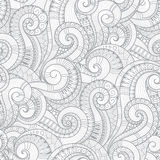 Seamless black and white abstract hand-drawn pattern, waves back Stock Images