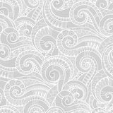 Seamless black and white abstract hand-drawn pattern, waves back Royalty Free Stock Image