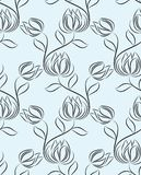 Seamless black and white abstract lotus flower pattern. For textile fabrics and cloths stock illustration