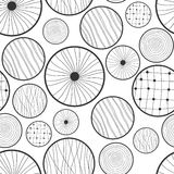 Seamless black and white abstract pattern of circles Stock Photo