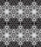 Seamless black white. Abstract seamless pattern with white floral ornaments on a gray and black background stock illustration