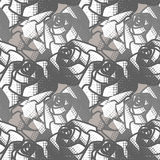 Seamless black and white abstract  pattern with roses.. Vector background. Stock Photography