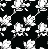 Seamless black and white abstract rose flower pattern. For textile fabrics Royalty Free Stock Photos