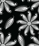 Seamless black and white artistic floral wallpaper. And pattern design stock illustration