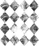 Seamless black and white background, based on handdrawn ink rhombus, hand made in freehand style, laconic, imperfect, on textured. Watercolor paper, beautiful Royalty Free Stock Photos