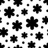 Seamless black and white background with decorative snowflakes. Flat design. Stock Photo