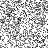 Seamless black and white background. Floral, ethnic, hand drawn elements for design. Stock Photography